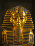 A Close View of the Gold Funerary Mask of the Pharaoh Tutankhamun