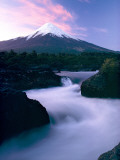 The Winding Rio Petrohue Beneath Osorno Volcano at Twilight