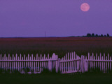 Full Moon Rising over a Picket Fence at Rhodes Point