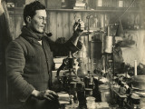 Doctor Edward Atkinson in His Lab During Captain Scott's Expedition