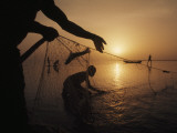 Fishermen Pull Up their Nets at Sunrise