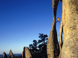 Climber Paul Piana Leads a Route at the Needles in South Dakota