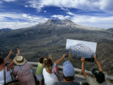 Visitors Compare the Cone of Mt St Helens with an Earlier Photo of It