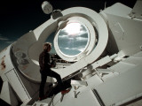 A Scientist Stands Next to the Mcmath Solar Telescope