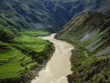 The Mekong River Running Past Terraced Fields in the Mountains