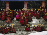 Monks of the Yellow Hat Sect of Tibetan Buddhism Gather for Prayers