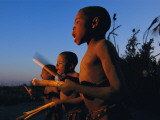 Newly Circumcised Boys from the Luvale Tribe Greet the Dawn
