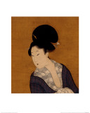 Woman at Her Morning Toilette  a Hanging Scroll Painting
