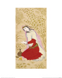 Kneeling Woman Counting on Her Fingers  Signed by Mu' in Musavvir