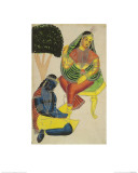 Krishna and Radha  Kalighat Style  India  1860