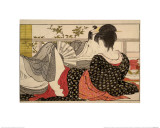 Lovers in an Upstairs Room  from Uta Makura ('Poem of the Pillow')  a Colour Woodblock Print