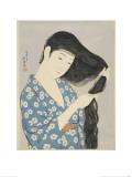 Woman in a Bathrobe Combing Her Hair
