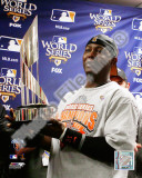 Edgar Renteria with the World Series MVP Trophy Game Five of the 2010 MLB World Series