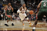 Milwaukee Bucks v Cleveland Cavaliers: Mo Williams  Brandon Jennings and Corey Maggette