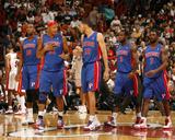 Detroit Pistons v Miami Heat: Greg Monroe  Charlie Villanueva  Tayshaun Prince and Rodney Stuckey