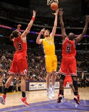 Chicago Bulls v Los Angeles Lakers: Pau Gasol  Joakim Noah and Luol Deng