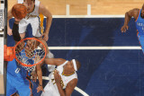 Oklahoma City Thunder v Indiana Pacers: Russell Westbrook  Mike Dunleavy and James Posey