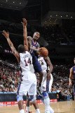 Atlanta Hawks v New Jersey Nets: Jamal Crawford and Derrick Favors