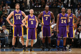 Los Angeles Lakers v Minnesota Timberwolves: Pau Gasol  Steve Blake  Lamar Odom and Kobe Bryant