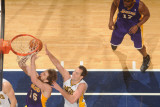 Los Angeles Lakers v Indiana Pacers: Pau Gasol and Jeff Foster