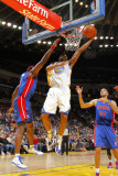 Detroit Pistons v Golden State Warriors: Tayshaun Prince  Ben Wallace and Reggie Williams