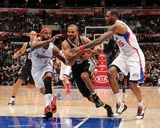 San Antonio Spurs v Los Angeles Clippers: Tony Parker  Baron Davis and Rasual Butler
