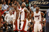 Charlotte Bobcats v Miami Heat: Chris Bosh  LeBron James and Dwyane Wade