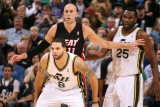 Miami Heat v Utah Jazz: Deron Williams and Zydrunas Ilgauskas