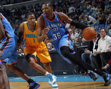 Oklahoma City Thunder v New Orleans Hornets: Kevin Durant and Trevor Ariza