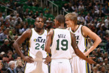 Indiana Pacers v Utah Jazz: Andrei Kirilenko  Raja Bell and Paul Millsap