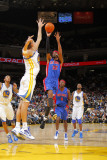 Detroit Pistons v Golden State Warriors: Andris Biedrins and Richard Hamilton