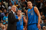Dallas Mavericks v New Orleans Hornets: Rick Carlisle  Jose Barea and Dirk Nowitzki
