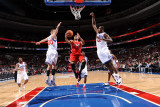 Los Angeles Clippers v Philadelphia 76ers: Eric Gordon  Elton Brand and Spencer Hawes
