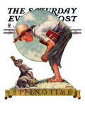 &quot;Springtime  1935 boy with bunny&quot; Saturday Evening Post Cover  April 27 1935