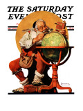 """Santa at the Globe"" Saturday Evening Post Cover, December 4,1926 Giclée par Norman Rockwell"