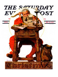 &quot;Santa at His Desk&quot; Saturday Evening Post Cover  December 21 1935