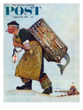"""""""Mermaid"""" or """"Lobsterman"""" Saturday Evening Post Cover, August 20,1955 Giclée par Norman Rockwell"""