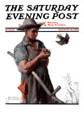 """Farmer and the Bird"" or ""Harvest Time"" Saturday Evening Post Cover  August 18 1923"