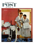 """Just Married"" (hotel maids and confetti) Saturday Evening Post Cover  June 29 1957"