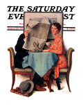 """Breakfast Table"" or ""Behind the Newspaper"" Saturday Evening Post Cover  August 23 1930"