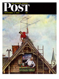 """New TV Set"" Saturday Evening Post Cover  November 5 1949"