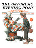 &quot;Circus&quot; or &quot;Meeting the Clown&quot; Saturday Evening Post Cover  May 18 1918