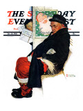 """See Him at Drysdales"" (Santa on train) Saturday Evening Post Cover  December 28 1940"