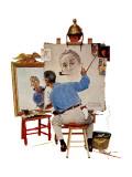 """Triple Self-Portrait"", February 13,1960 Giclée par Norman Rockwell"