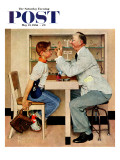 """At the Optometrist"" or ""Eye Doctor"" Saturday Evening Post Cover  May 19 1956"