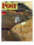 &quot;Swimming Hole&quot; Saturday Evening Post Cover  August 11 1945