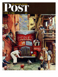 """Road Block"" Saturday Evening Post Cover  July 9 1949"