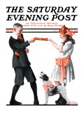 &quot;Playing Party Games&quot; Saturday Evening Post Cover  April 26 1919