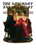 """Man Courting Two Sisters"" Saturday Evening Post Cover  May 4 1929"