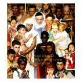 """Golden Rule"" (Do unto others), April 1,1961 Giclée par Norman Rockwell"